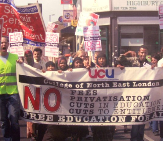 UCU members marching against cuts to ESOL courses at the College of North East London last May