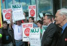 NUJ and BECTU members during strike action against cuts at the BBC in May, 2005