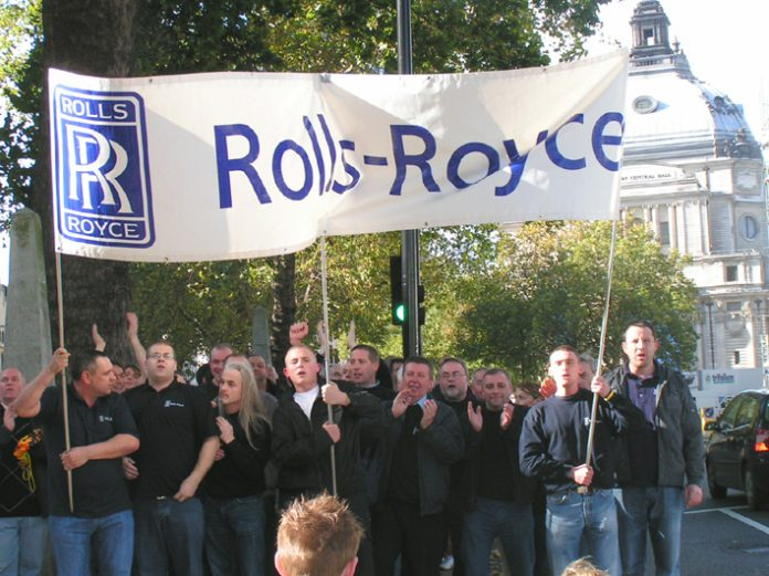 Determined Rolls Royce workers during yesterday's 'Manufacturing Lobby of Parliament' organised by the Unite union