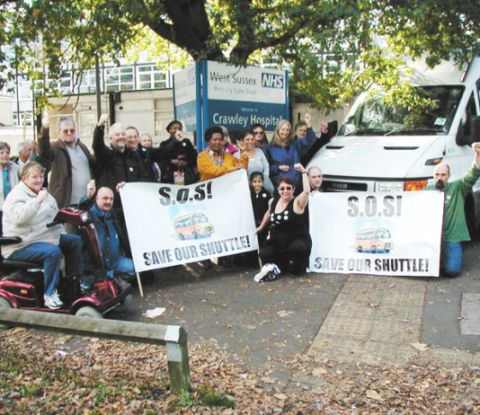 Crawley residents and hospital staff demonstrate to save the vital shuttle service between Crawley and Redhill hospitals