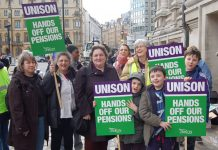 UNISON members taking strike action to defend their terms and conditions of service