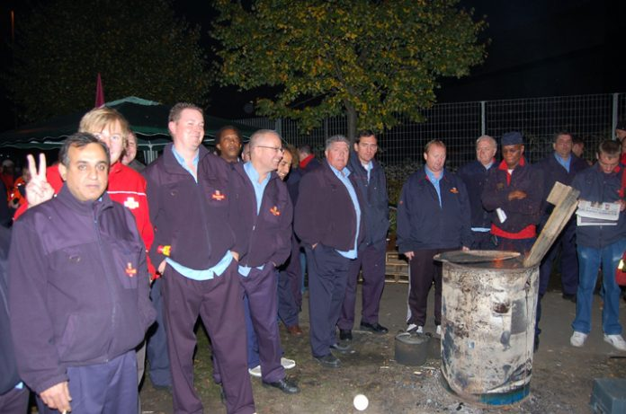 The picket line at East London Mail Centre during this month's unofficial strike over Royal Mail's imposition of new starting times
