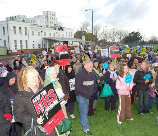 Rally in front of the St Helier Hospital in Morden – over half of London's 32 District General Hospitals  are threatened with closure