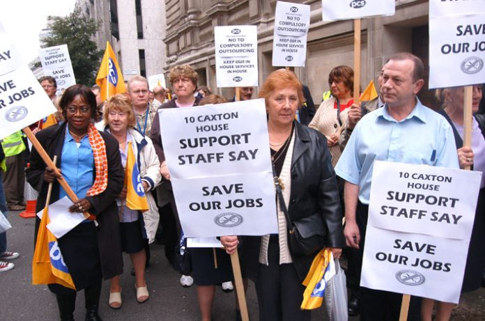 Civil servants resisting the compulsory 'outsourcing' of their jobs marched through Westminster two weeks ago