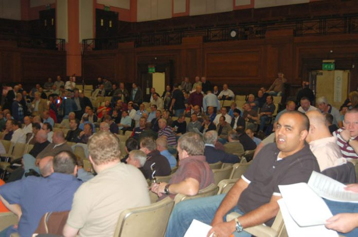 CWU branch secretaries and area reps at Friends Meeting House in London yesterday
