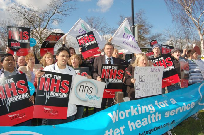 Dave Prentis, UNISON General Secretary, taking part in the demonstration against privatisation at Kingston Hospital