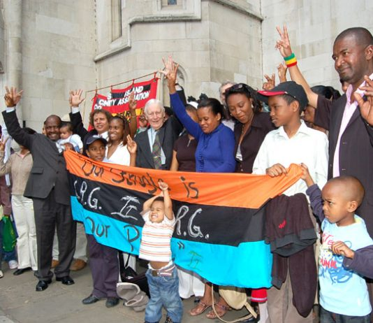 Chagos Islanders celebrate their victory outside the Court of Appeal in London on May 23