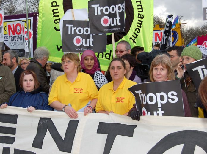 ROSE GENTLE (2nd from right) with other members of Military Families Against the War headed February's march in London for troops out of Iraq and the rejection of a new Trident missile