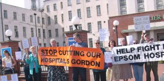 Protest on July 9th against the threat to close departments at the St Helier and Epsom Hospitals