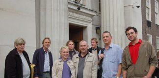 CWU representatives from Hertfordshire area outside yesterday's meeting in Euston on Royal Mail pensions