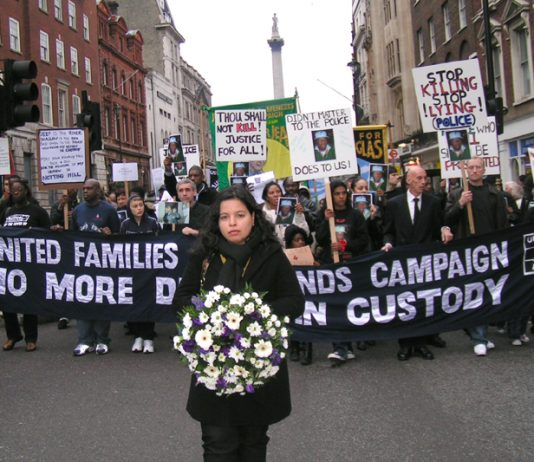 Cousin of Jean Charles de Menezes, PATRICIA DA SILVA ARMANI leading last Saturday's United Families and Friends Campaign annual march against deaths in state custody
