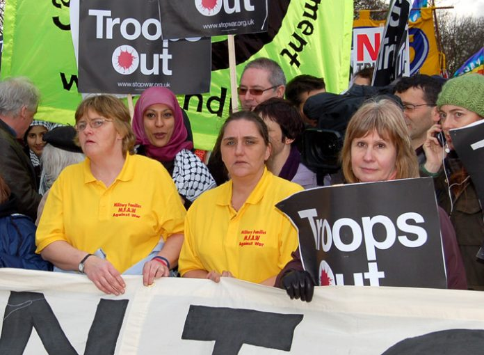 Rose Gentle (centre) leading a march in February this year demanding withdrawal of British troops from Iraq