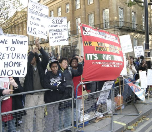 Chagos islanders and their supporters kept up lively chants all afternoon on Saturday, insisting on their right to return to their homeland