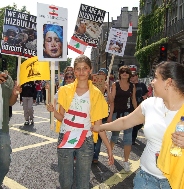 Marchers in London in August last year show their support for Hezbollah during the Israeli war on Lebanon