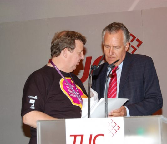 The GMB's PHIL DAVIES confronts Work and Pensions Secretary  PETER HAIN about the Remploy crisis at the TUC Congress