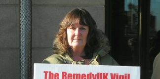 LINDSAY COOKE, from 'Mums4Medics' making her point outside Portcullis House, Westminster, yesterday