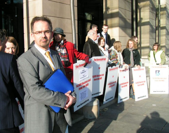 Dr DAVID NICHOLL, Chair of the Specialist Training Committee for the West Midlands at Thursday's vigil at Portcullis House, Westminster