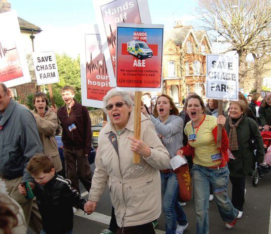 The last angry march through Enfield where 10,000 local people turned out to protest at the plan to close Chase Farm Hospital