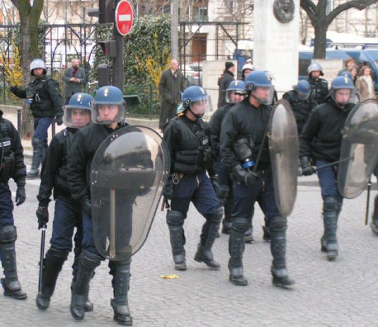Riot police brought into the centre of Paris to confront an uprising by youth against the CPE cheap labour law that had to be abandoned by the government