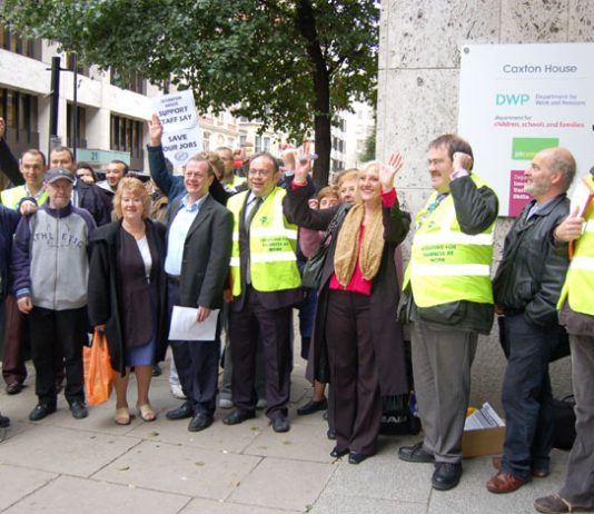 PCS members on strike against moves to privatise jobs at Caxton House, part of the DWP