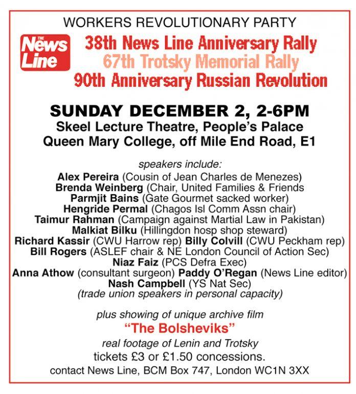 NEWS LINE ANNIVERSARY RALLY: SUNDAY 2nd DECEMBER