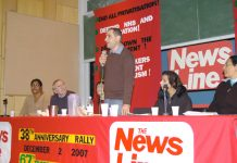 Harrow CWU rep RICHARD KASSIR addressing yesterday's rally