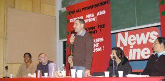 Harrow CWU rep RICHARD KASSIR addressing yesterday's rally