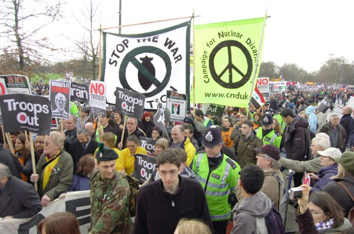 This year's huge February 24th anti-war march setting off from Hyde Park