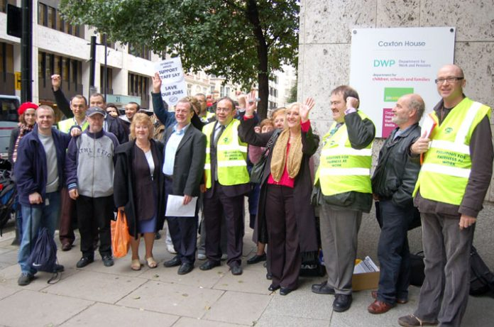 PCS members taking strike action on October 31st against compulsory outsourcing