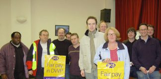 Local PCS civil service union branch leaders in the Department for Work and Pensions at a London meeting yesterday
