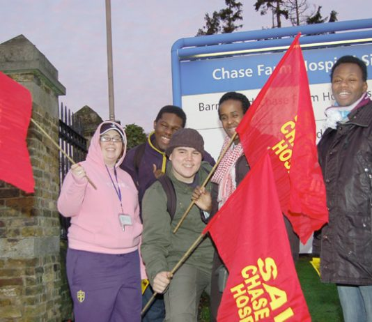 Enthusiastic youth at yesterday morning's mass picket to keep open Chase Farm Hospital