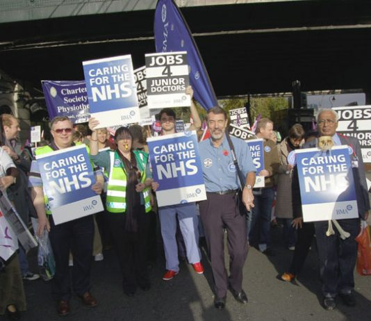BMA members marching on the NHSTogether demonstration in London on November 3rd