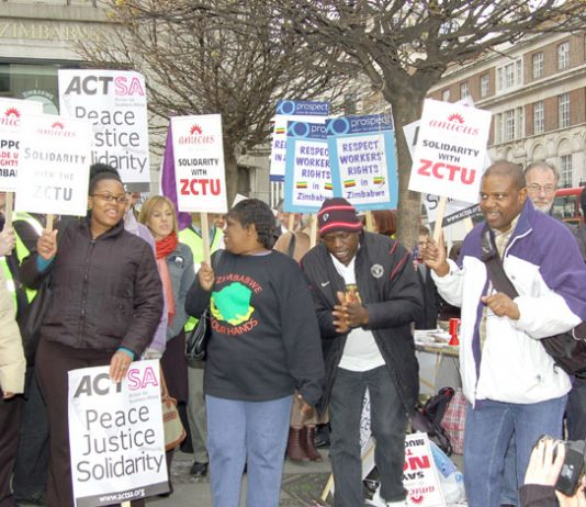Demonstration outside the Zimbabwe Embassy in London against the arrest of trade unionists in Zimbabwe