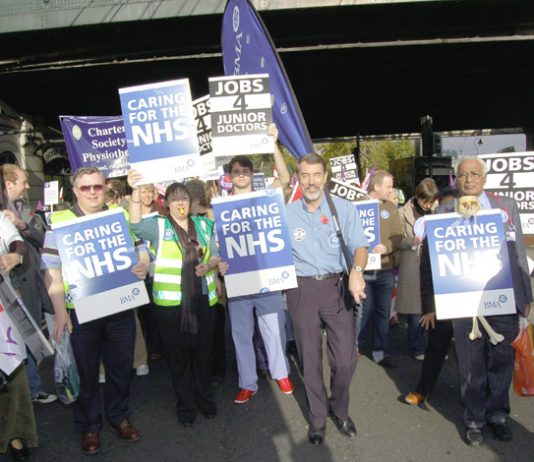 BMA members marching on the November 3rd 'NHSTogether' demonstration in London