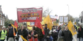Members and supporters of the North East London Council of Action mobilised 3,000 people to march for the occupation of Chase Farm Hospital to keep it open