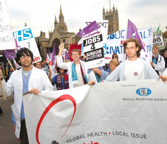 Junior doctors marching in defence of the NHS in November last year  – face more sackings under Brown's Blairite plan