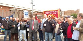 CWU leaders BILLY HAYES and DAVE WARD joined the picket line at Mandela Way in south east London on June 29