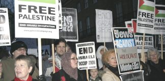 A section of the 400-strong protest opposite Downing Steet demanding an end to the Israeli siege of Gaza