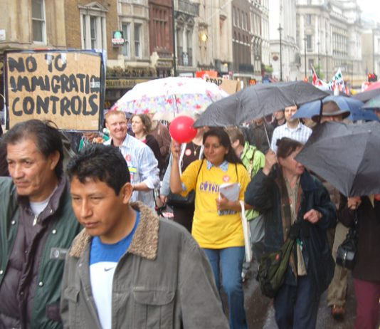 Demonstrators in London last May against Labour's immigration controls