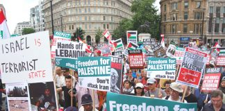 Marchers in Trafalgar Square opposing any attack on Iran during a rally last July against the Israeli attack on Lebanon