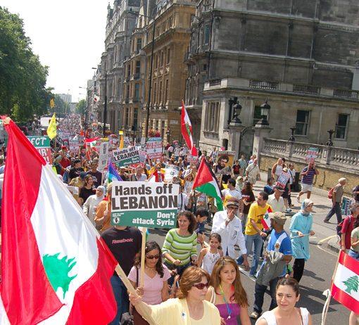 London demonstration in August 2006 against the Israeli bombing of Lebanon