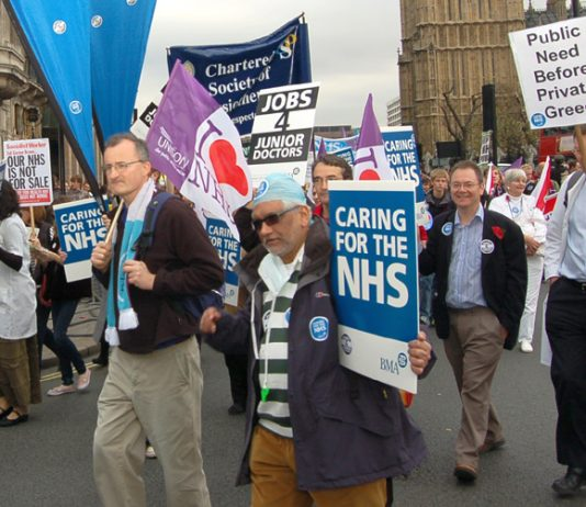 NHS trade unionists marching in London on November 3rd to defend the NHS against the privateers