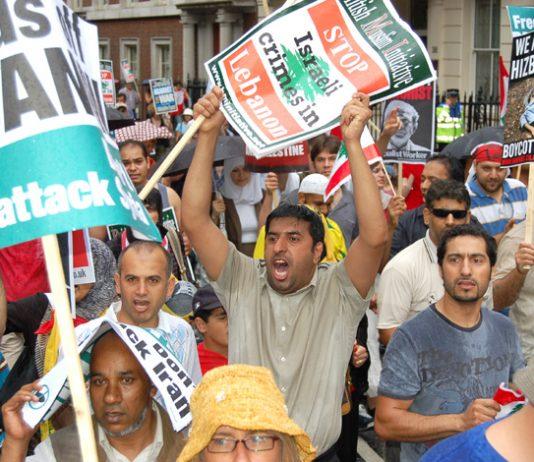 Angry Lebanese demonstrating in London against Israeli bombing of Lebanon last July