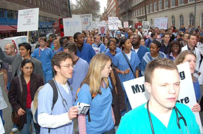 12,000 angry Junior Doctors demonstrated last March against the government's imposed Modernising Medical Careers 'reforms' which have left thousands without jobs