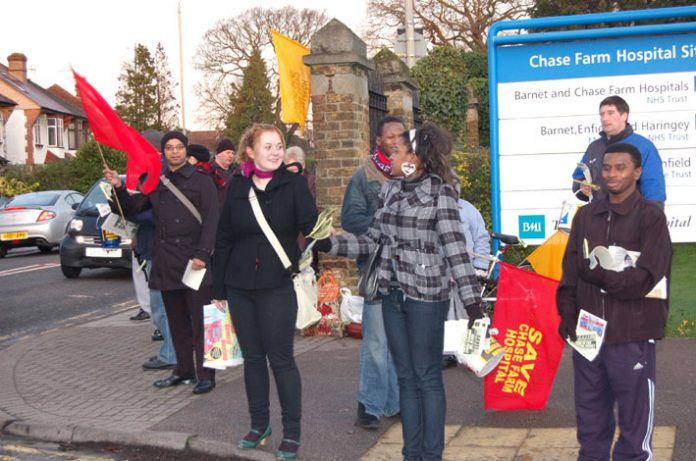 Part of the lively picket by trade unionists and youth determined to keep open Chase Farm Hospital in Enfield