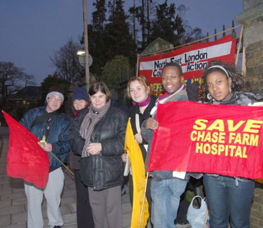 Part of Tuesday morning's mass picket outside Chase Farm Hospital  – it began in the dark at 7.00am