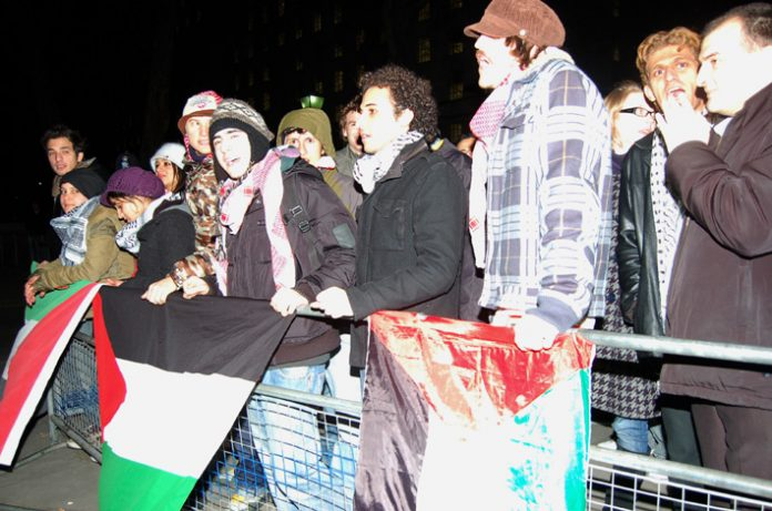 Over 50 people took part in Thursday night's emergency picket, demanding food supplies, electricity and water to Gaza are restored