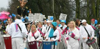 Some of the demonstrators who marched through Norwich last weekend against the Arts Council cuts that threaten the future of hundreds of theatre groups across Britain