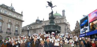 Actors protest in London's Piccadilly Circus on January 15 against the Arts Council funding cuts