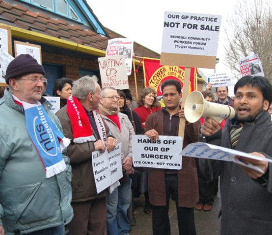 Residents & GPs demonstrate against the takeover of St Paul's Way GP surgery in Bow, by private company Atos Healthcare